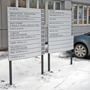Durable Directory Sign Frames at an Office Building in Lodz, Poland