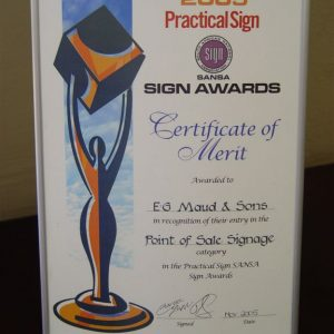 Prestigious Sansa Award Presented for the Vista System in the Point of Sale Signage Category