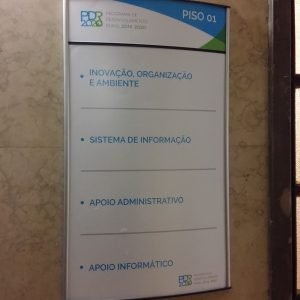 Wall Signs and Directories at Office Building in Lisbon, Portugal